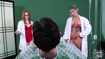 [Lady Fyre Femdom / Clips4Sale.com] Lady Fyre & Cali Carter Subject 23: Tested & Terminated [2017 г., blowjob, nurse, deepthroat, natural tits, big tits, treesome, fetish, redhead, medical fetish, glesses, cum in mouth, 1080p]